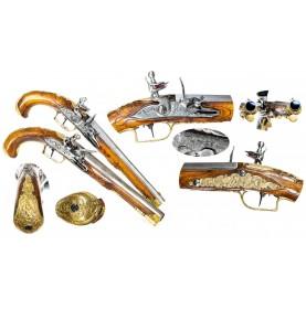 Beautiful Pair of 18th Century Flintlock Holster Pistols by Petter of Vevay