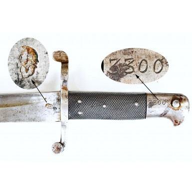 "Confederate Numbered ""Bar on Band"" Enfield Rifle Saber Bayonet"