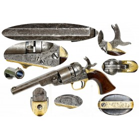 Factory Engraved Colt 4 1/2-Inch 38 Caliber Colt Model 1862 Pocket Navy Cartridge Revolver