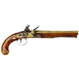 Attractive Brass Barreled Flintlock Holster Pistol by John Richards of London