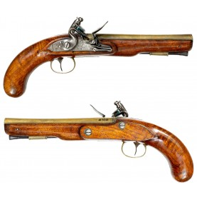 Late 18th Century Brass Barreled Flintlock Holster Pistol by Richard Welford