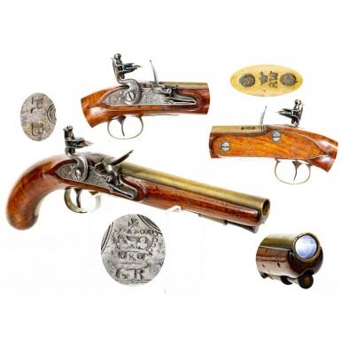 Late 18th Century Brass Barreled Flintlock Holster Pistol by Richard Welford