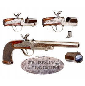 Interesting Swivel Breech Percussion Pistol by Pfaff of Frieburg