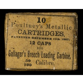 Rare Package of 10 Poultney's Patent Gallager Carbine Cartridges