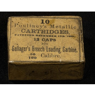 Rare Unopened Package of 10 Poultney's Patent Gallager Carbine Cartridges