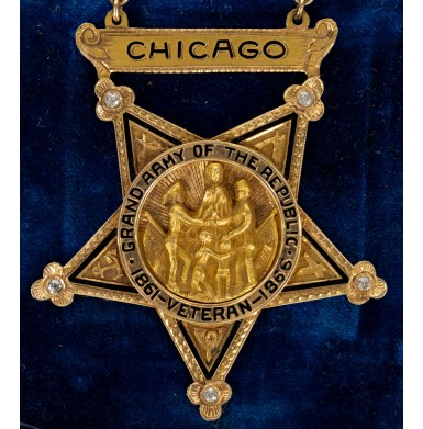Inscribed 14kt Gold & Diamond G.A.R. Badge to R.F. Wilson - Past Commander Columbia Post #706 in Chicago