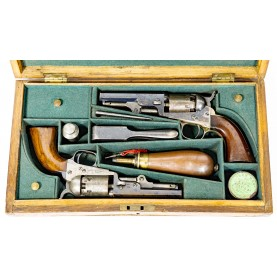 English Double Cased Set of 4-Inch Colt 1849 Pocket Revolvers