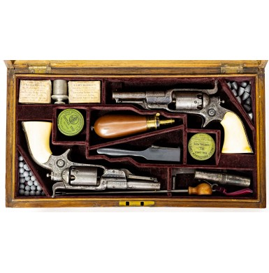 English Cased Pair of Engraved Colt Model 7 Root Revolvers with Ivory Grips