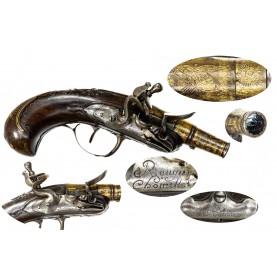 Fine Revolutionary War Era French Flintlock Muff Pistol by Rougier-Chometon