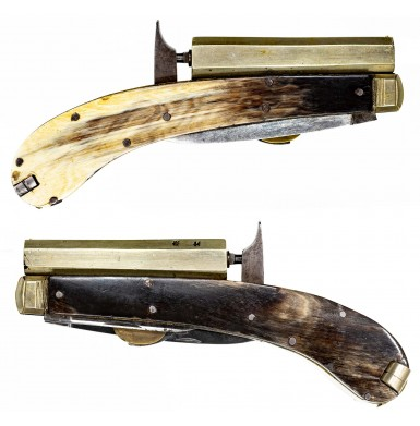 """Fine James Rodgers """"Self Protector"""" Etched Blade Percussion Pistol-Knife"""