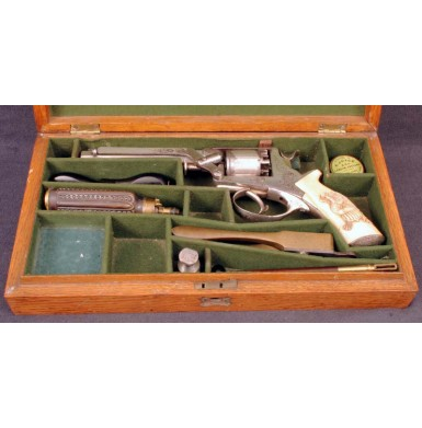 Fine Cased Tranter Revolver - Plated with Carved Ivory Grips
