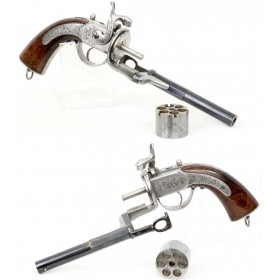 Cased Eyraud's 1858 Patent Revolver