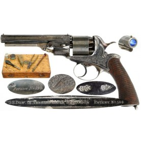 Cased & Engraved Pryse & Cashmore Revolver - Very Fine